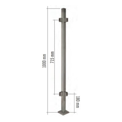 "Stainless Steel 1-9/16"" Square 90-Degree Corner Glass Clamp Newel Post (EQ64004P90)"