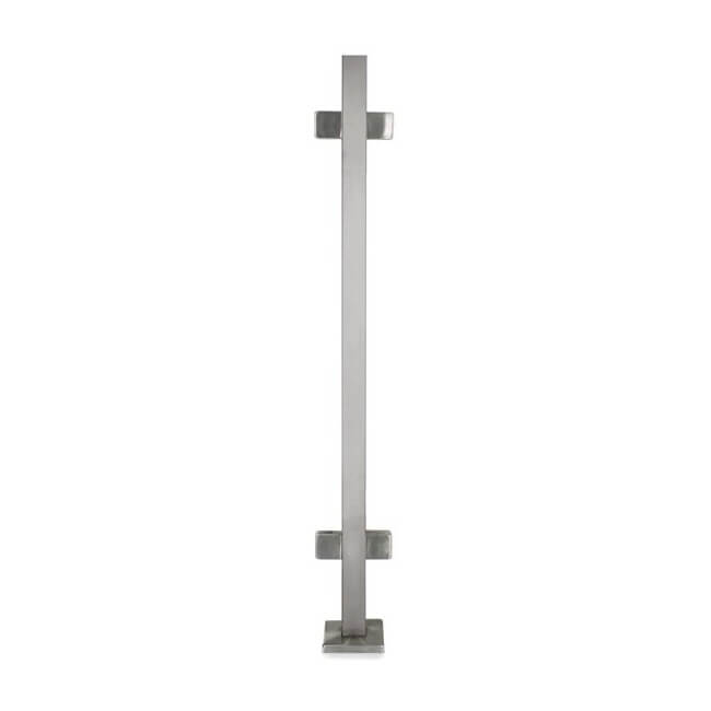 "Stainless Steel 1-9/16"" Square Double Side Glass Clamp Newel Post (EQ64004P)"