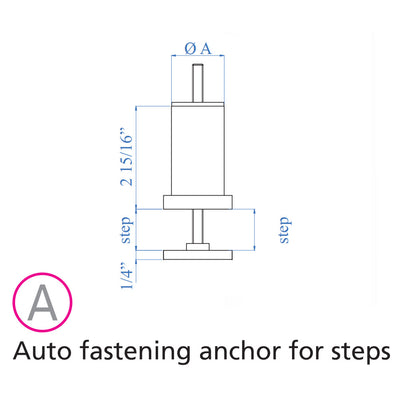 "Stainless Steel Auto Fastening Anchor for Floating Steps and 1-2/3"" Round Stainless Steel Tube (ES30020)"
