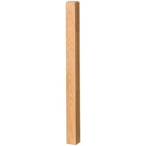 "Contemporary 3-1/2"" 4002-48F Solid Fluted Newel w/Chamfered Top"