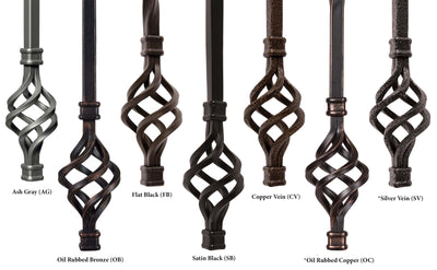 "Hammered Face Series 9/16"" Square x 44-3/32""H  5"" x 14.5"" ""S"" Scroll and Knob with Hammered Face - Hollow Iron Baluster (9047HF)"