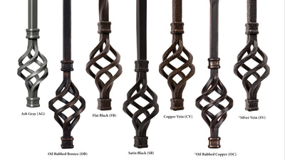 "Hammered Face Series 9/16"" Square x 44-3/32""H Double Knob with Hammered Face - Hollow Iron Baluster (9046HF)"