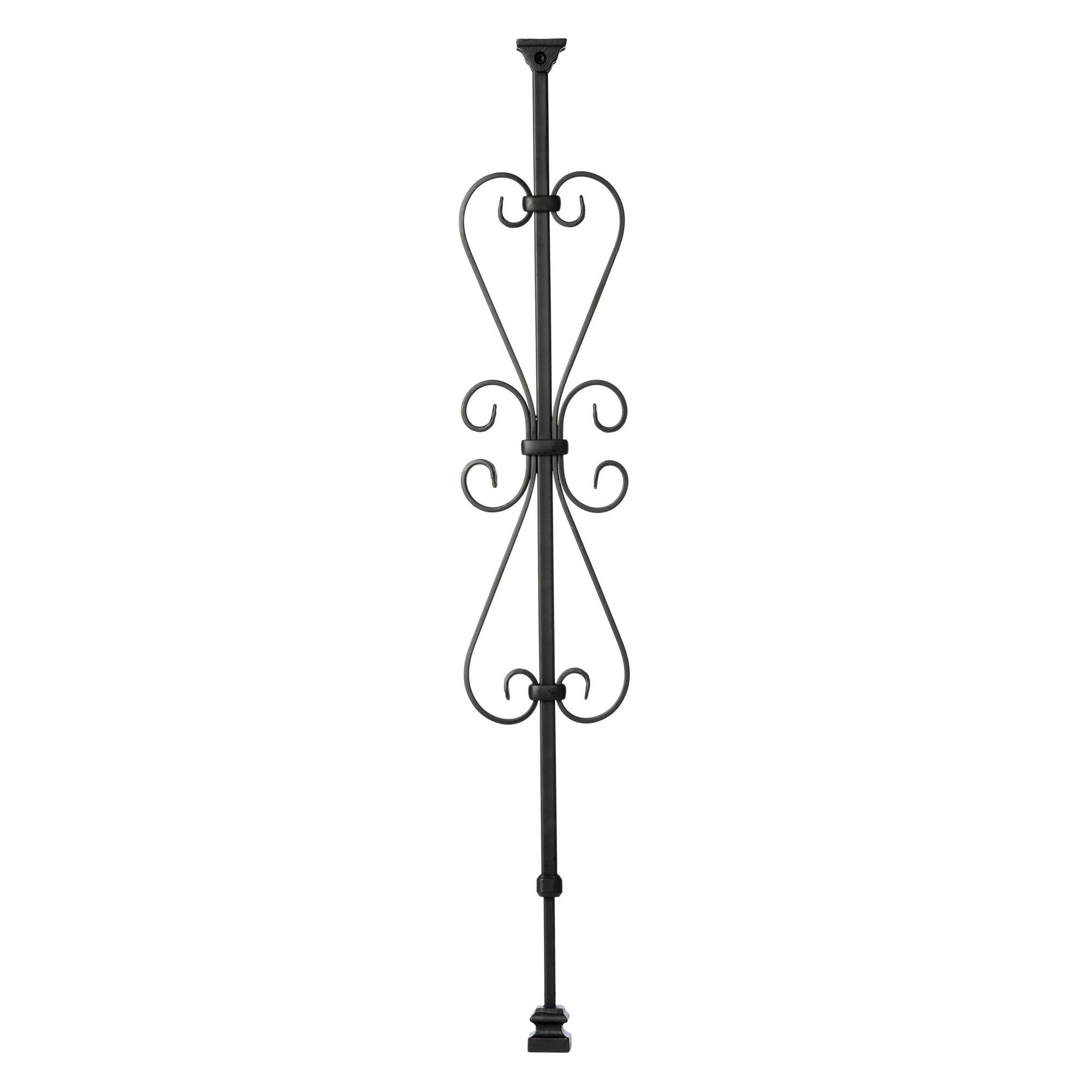 """Ole Iron Slides"" - Scroll Series - 1/2"" Square x 29-1/2""-38""H CISHSC Heart Scroll Adjustable Iron Baluster"