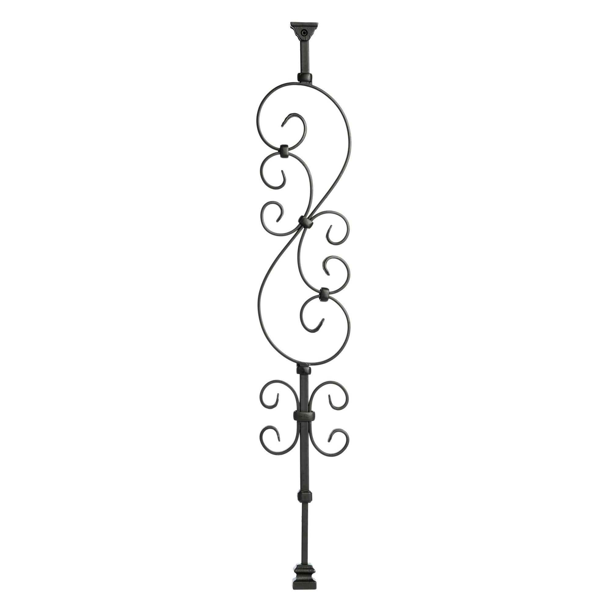 """Ole Iron Slides"" - Scroll Series - 1/2"" Square x 29-1/2""-38""H CISSCR Standard Scroll Adjustable Iron Baluster"