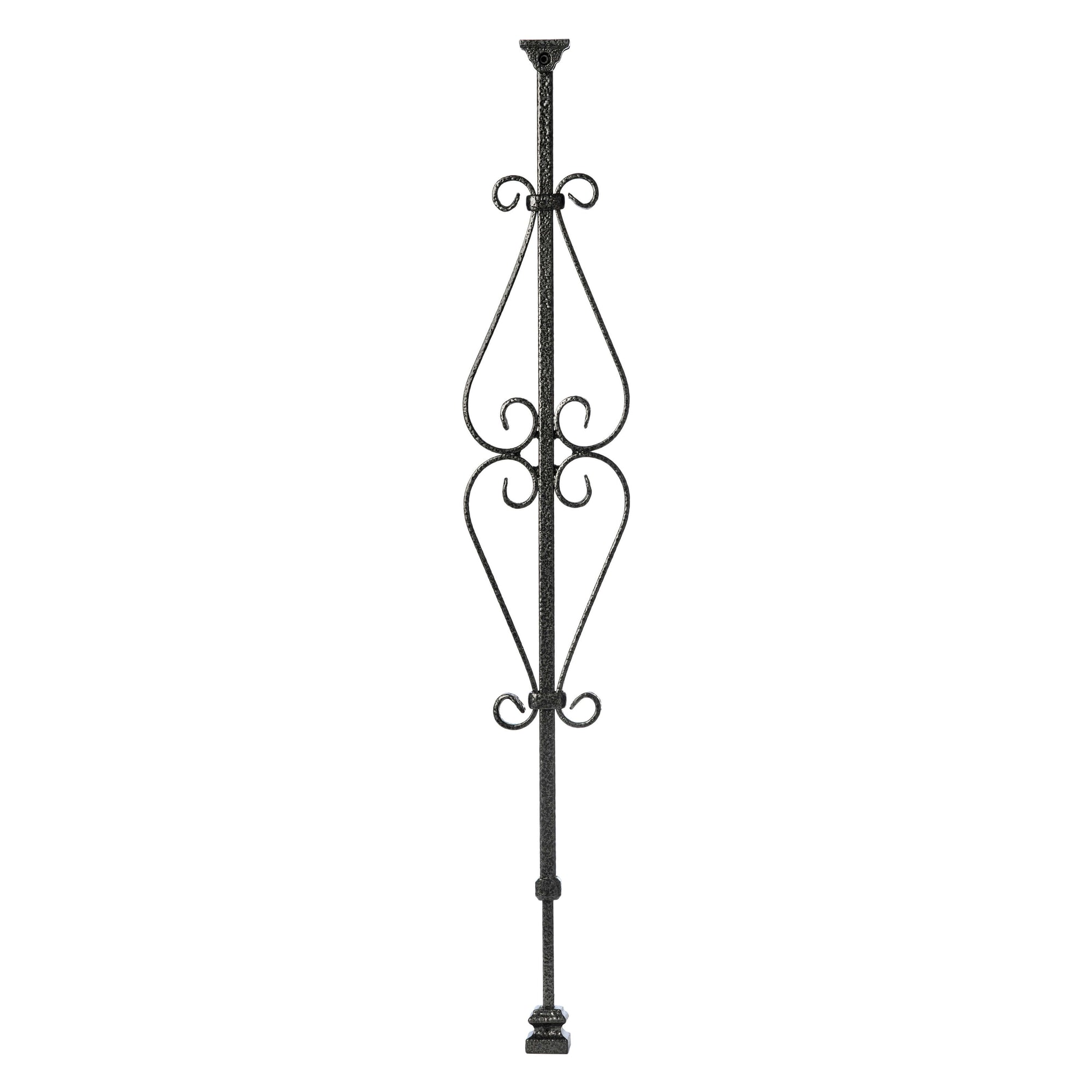 """Ole Iron Slides"" - Scroll Series - 1/2"" Square x 29-1/2""-38""H CISSSC Spade Scroll Adjustable Iron Baluster"
