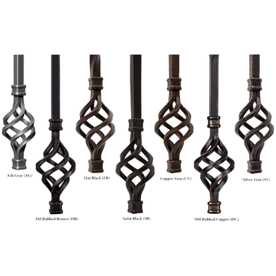 "Straight Series 1/2"" Square x 44""H Hollow Iron Baluster (9000)"