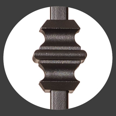 "Shape Series 1/2"" Square x 44""H Single Knuckle Hollow Iron Baluster (9006)"