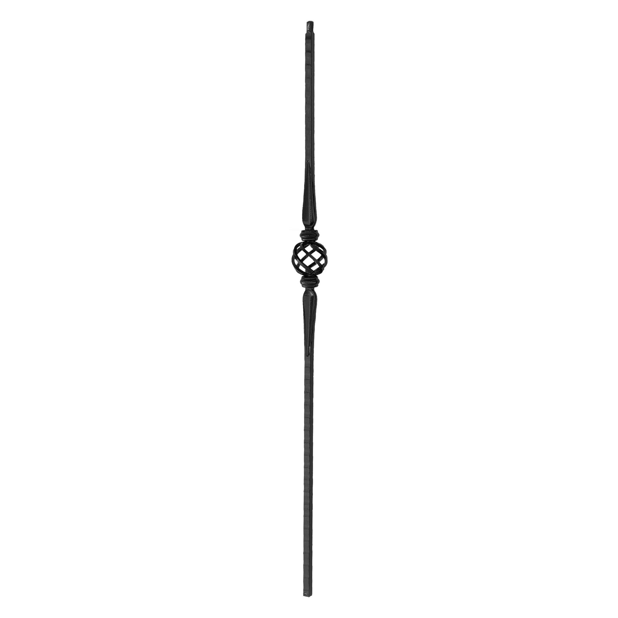 "Face Hammered Series 9/16"" Square x 44""H Double Spoon Single Basket Solid Iron Baluster (PC12/1)"