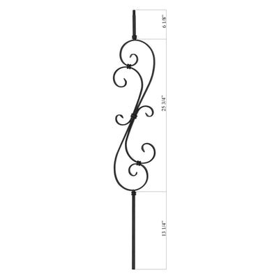"Scroll Series 1/2"" Square x 7-9/32""W x 44""H Thin (1/4"") Large Scroll Solid Iron Baluster (PC20/1)"
