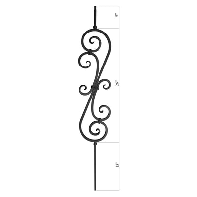 "Scroll Series 1/2"" Square x 7-3/8""W x 44""H Thick (1/2"") Large Scroll Solid Iron Baluster (PC22/1)"