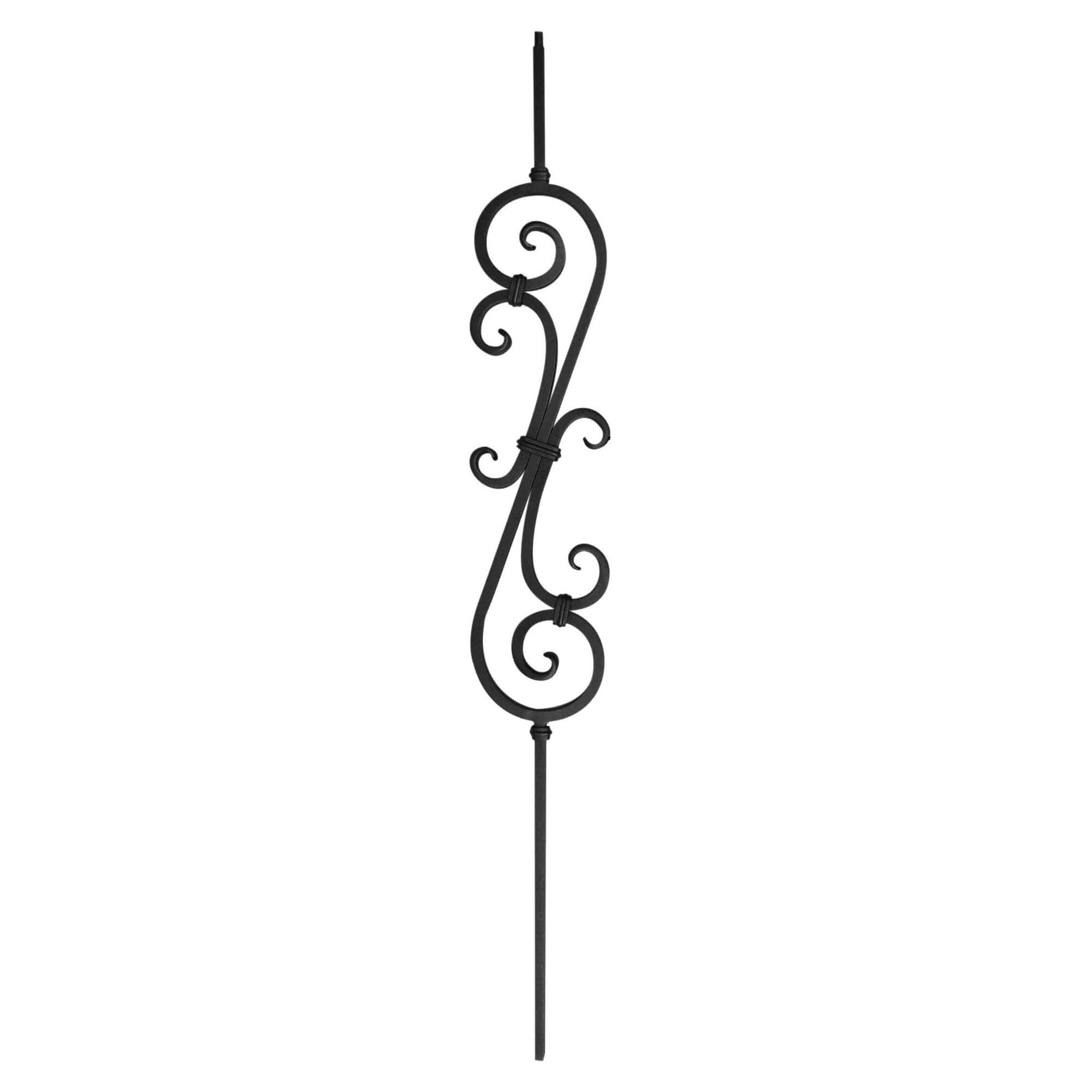 "Corner Hammered Series 1/2"" Square x 5-3/4""W x 44""H Thick (1/2"") Scroll Solid Iron Baluster (PC22/4)"
