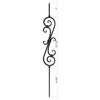 "Scroll Series 1/2"" Square x 5-3/4""W x 44""H Thick (1/2"") Large Scroll Solid Iron Baluster (PC22/3)"