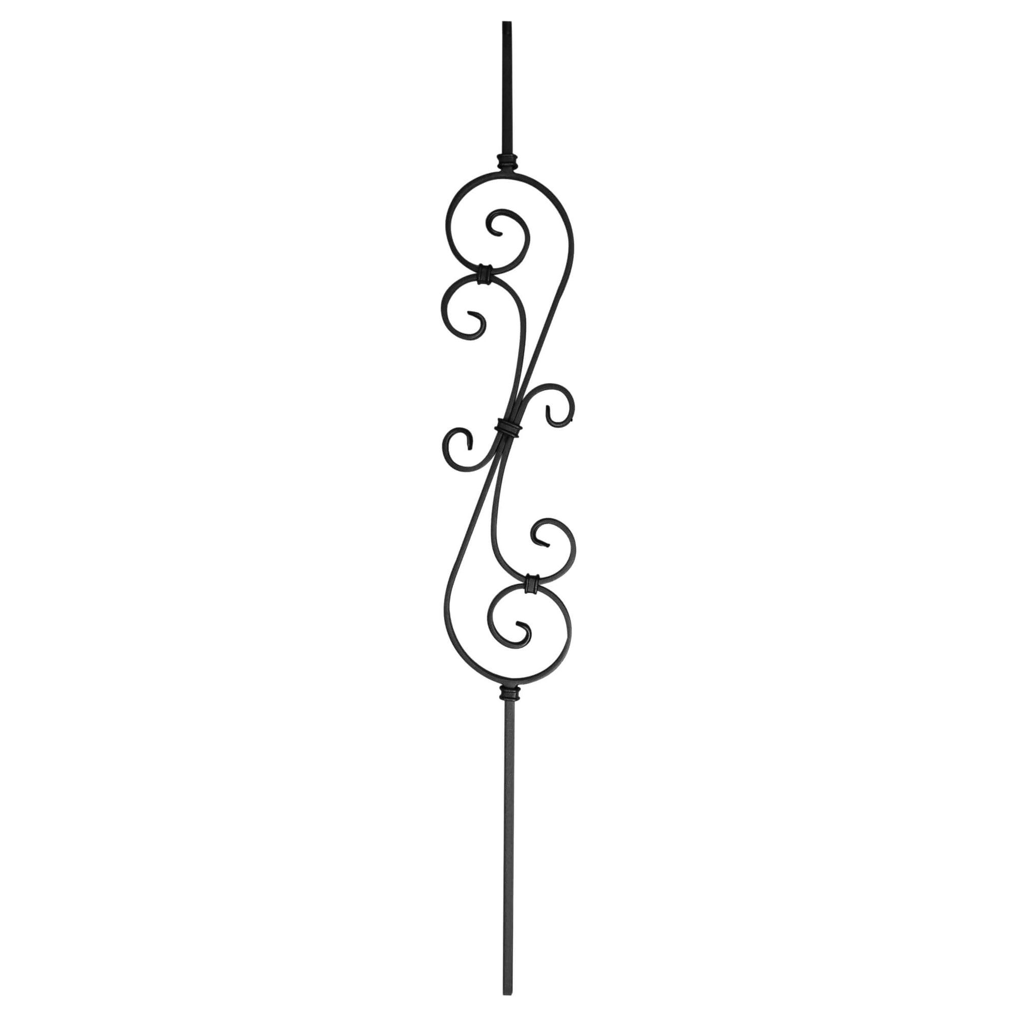 "Scroll Series 1/2"" Square x 5-3/4""W x 44""H Thin (1/4"") Scroll Solid Iron Baluster (PC22/5)"