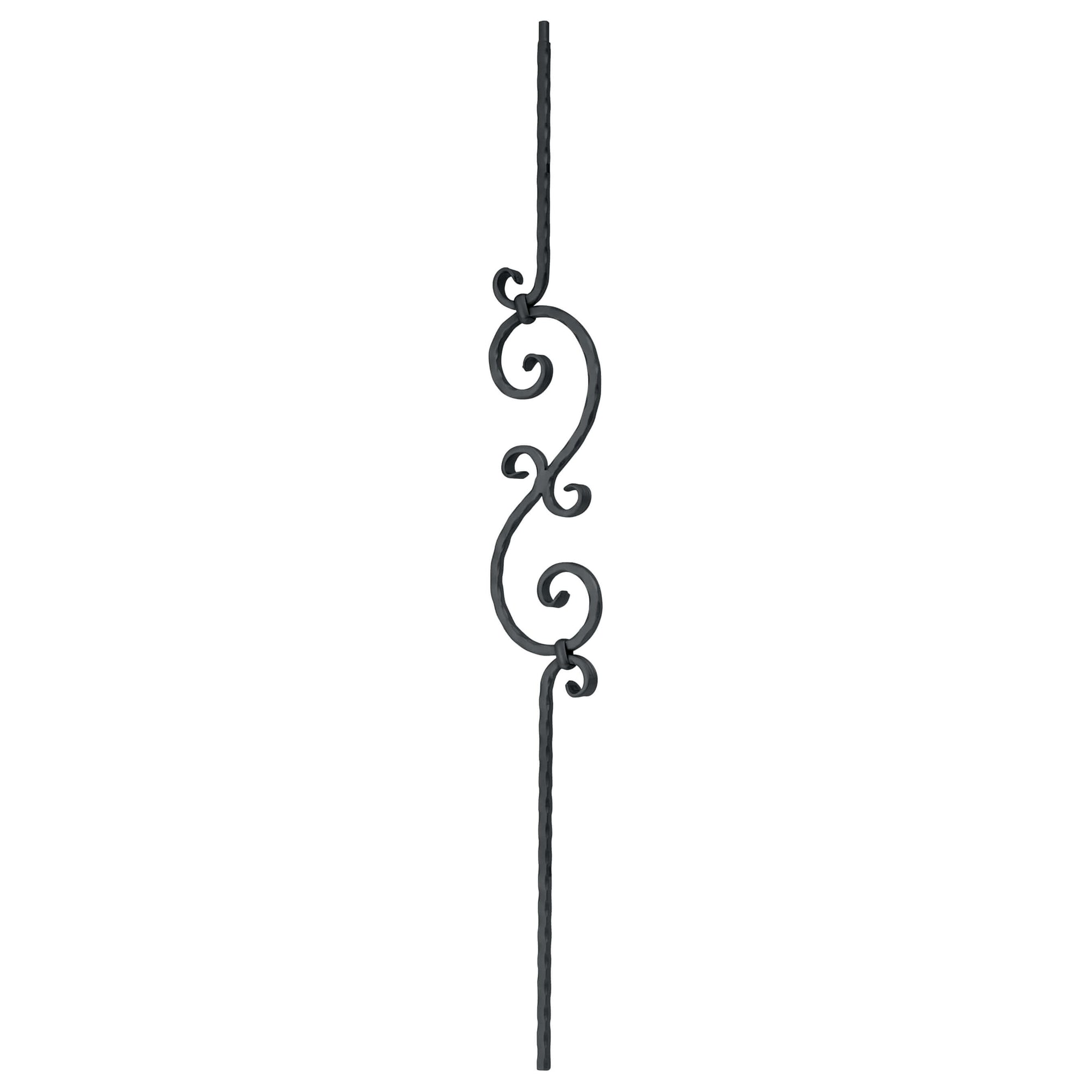 "Corner Hammered Series 1/2"" Square x 5-5/16""W x 44""H Thick ""S"" Scroll Solid Iron Baluster (PC33/1)"