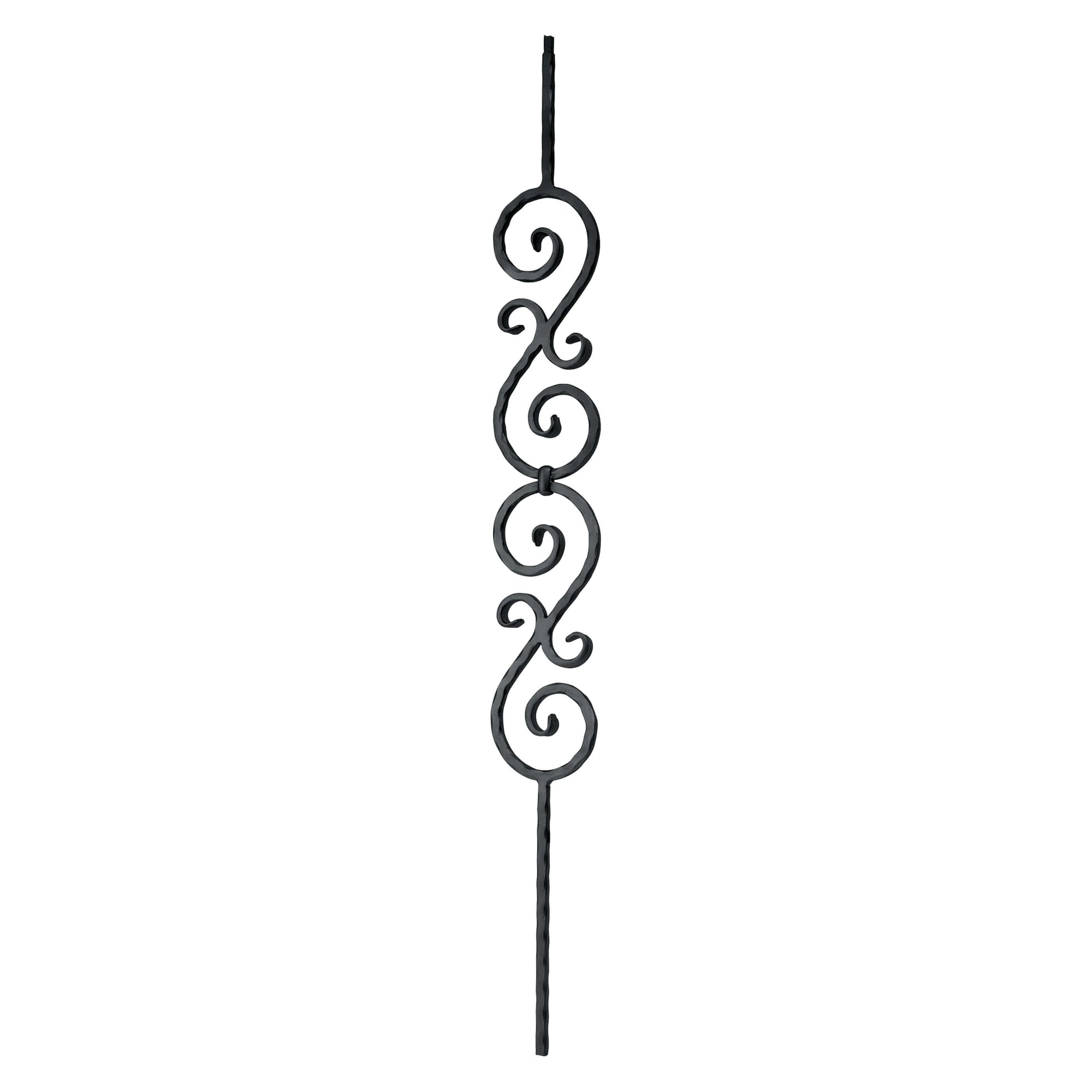 "Corner Hammered Series 1/2"" Square x 4-15/16""W x 44""H Stacked ""S"" Scroll Solid Iron Baluster (PC33/2)"