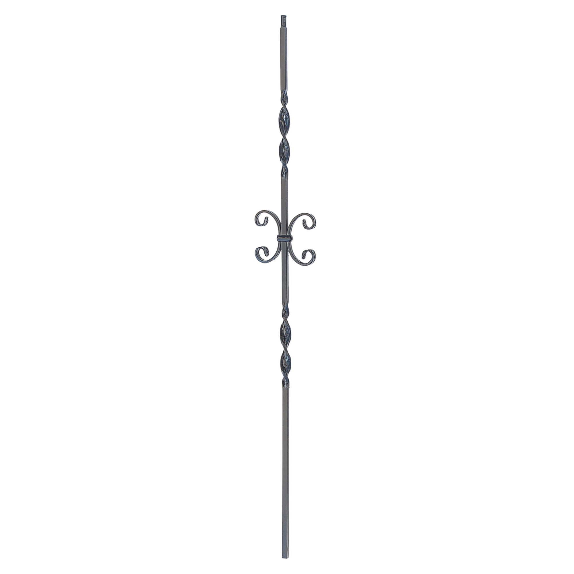 "Ribbon Series 1/2"" Square x 44""H Double Ribbon Twist and Scroll Solid Iron Baluster (PC34/1)"