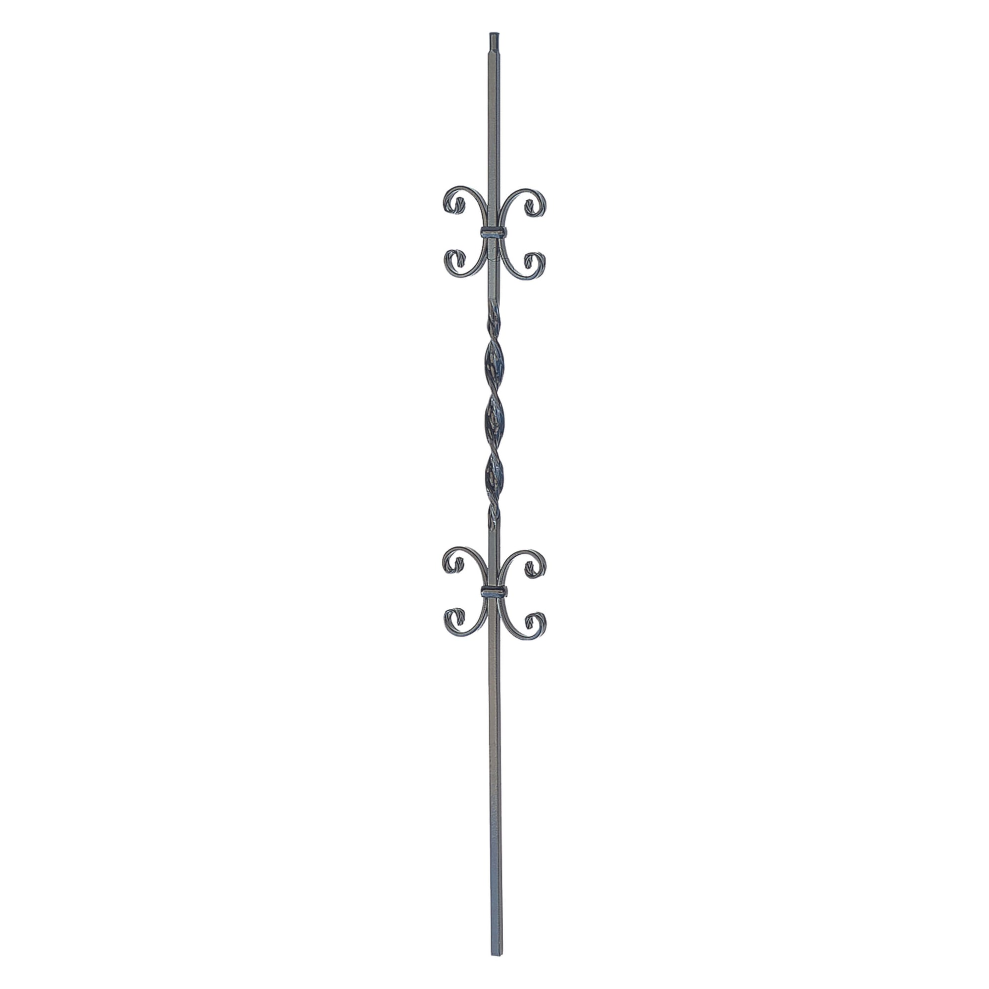 "Ribbon Series 1/2"" Square x 44""H Double Scroll and Ribbon Twist Solid Iron Baluster (PC34/4)"