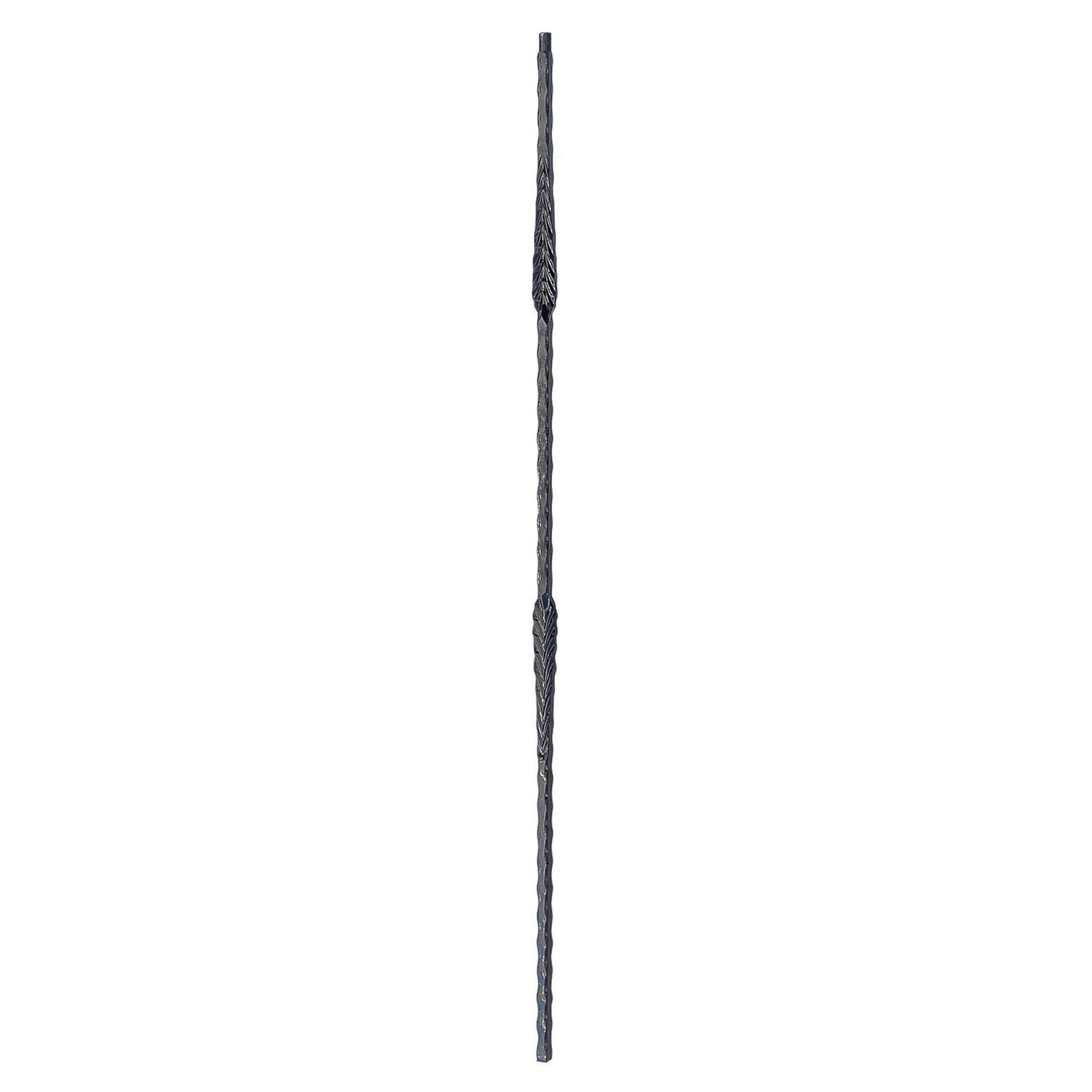 "Corner Hammered Series 9/16"" Square x 44""H Double Split Leaves Solid Iron Baluster (PC38/2)"