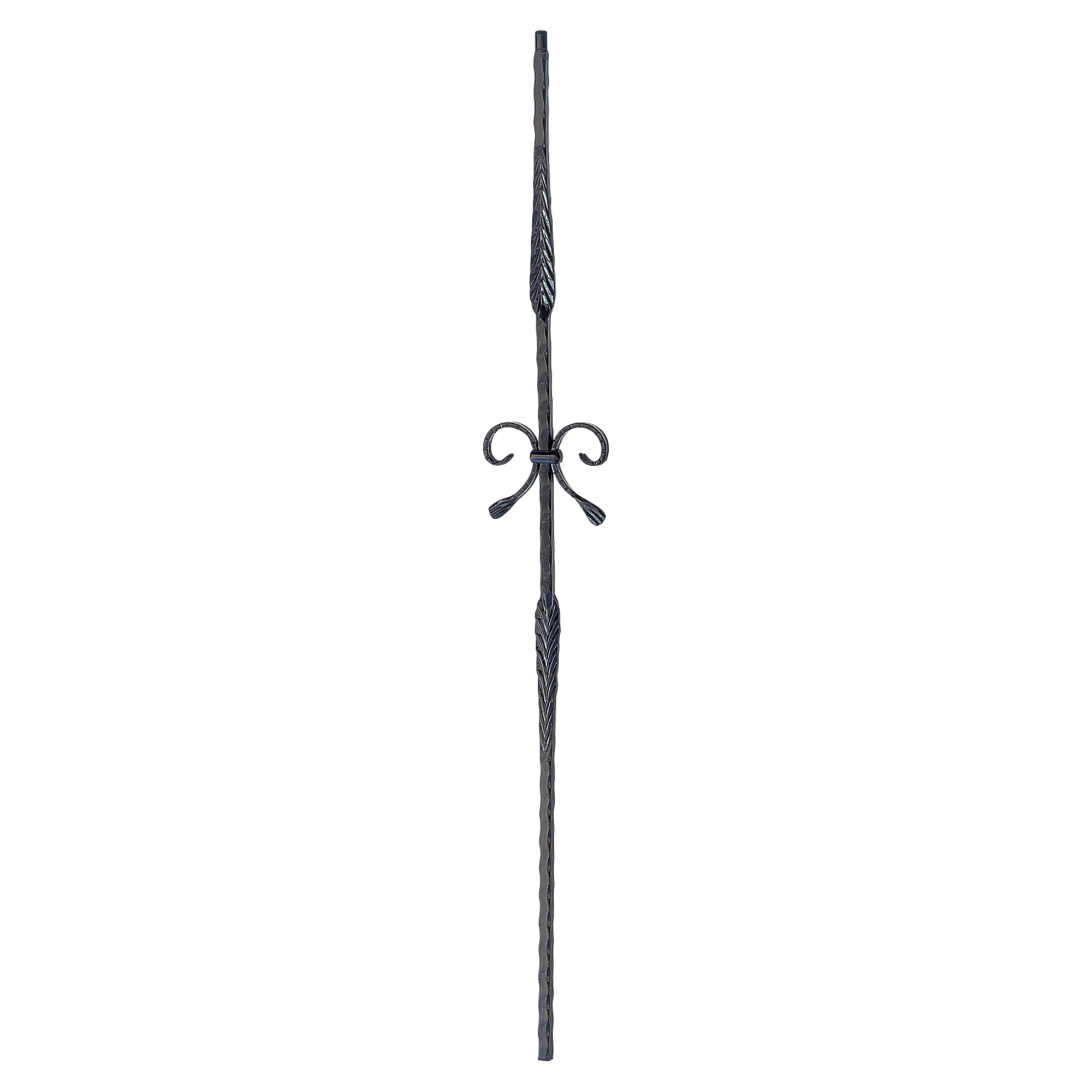 "Corner Hammered Series 9/16"" Square x 44""H Double Split Leaves w/Bow Tie Solid Iron Baluster (PC38/3)"