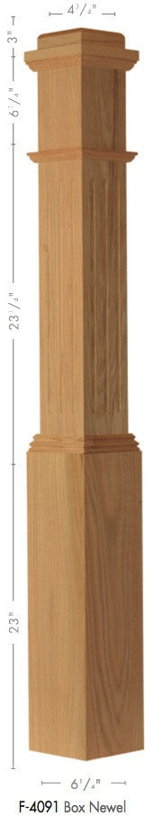 "American 6-1/4"" X 55"" 4091 Fluted Box Newel - Stair Parts USA - 2"