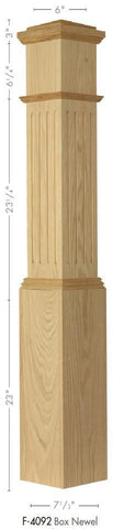 "American 7-1/2"" x 55"" 4092 Fluted Box Newel - Stair Parts USA - 2"