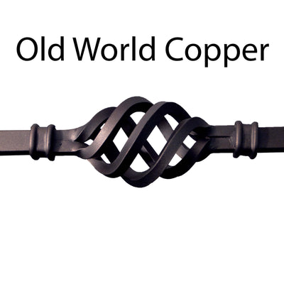 "Corner Hammered Series 1/2"" Square x 7-3/8""W x 44""H Thick (1/2"") Large Scroll Solid Iron Baluster (PC22/2)"