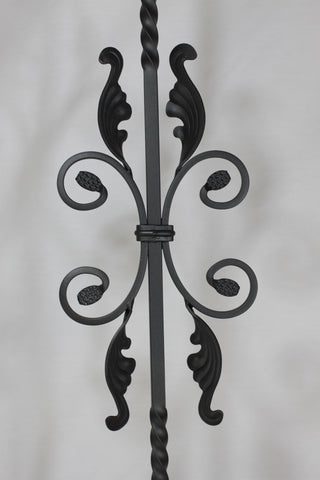 "Round Series 9/16"" Dia. x 44-3/32""H x 6-7/8""W PC44/1 Double Split Leaves and Fancy Scroll Solid Iron Baluster - Stair Parts USA - 3"