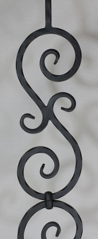 "Scroll Series 1/2"" Square Hammered x 4-15/16""W x 44-3/32""H PC33/2 Stacked ""S"" Scroll Solid Iron Baluster - Stair Parts USA - 3"