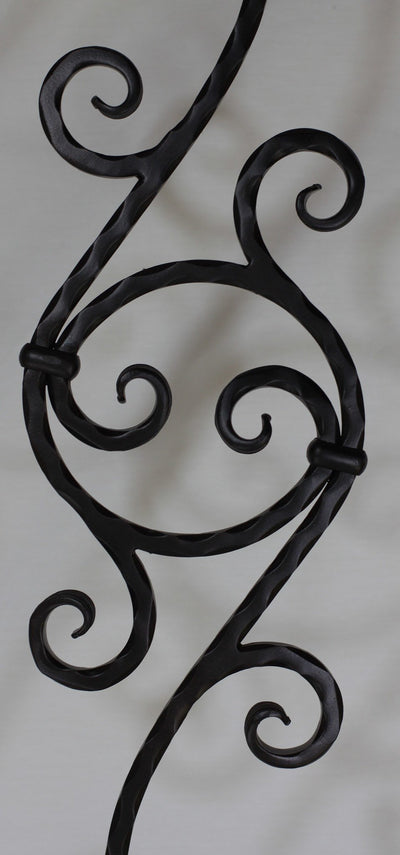 "Scroll Series 1/2"" Square Hammered x 7-3/4""W x 44-3/32""H PC26/1 Double Scroll w/Circle Solid Iron Baluster - Stair Parts USA - 3"