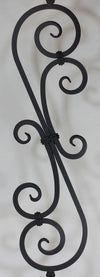 "Scroll Series 1/2"" Square x 7-3/8""W x 44-3/32""H PC22/3 Thick (1/2"") Large Scroll Solid Iron Baluster - Stair Parts USA - 3"