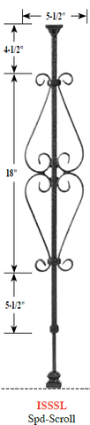"Scroll Series ""Ole Iron Slides"" 1/2"" Square x 30""-38""H CISSSC Spade Scroll Adjustable Iron Baluster - Stair Parts USA - 3"