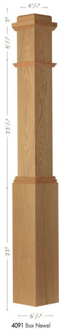 "American 6-1/4"" X 55"" 4091 Plain Box Newel - Stair Parts USA - 2"