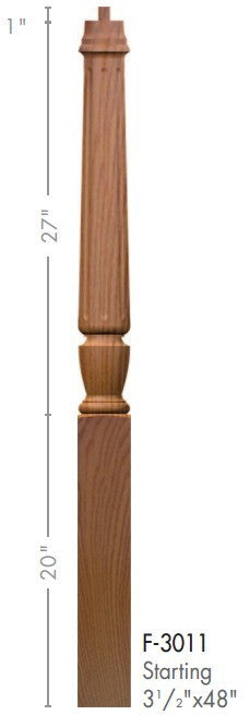"Bunker Hill 3-1/2"" 3010 Pin Top Turned Newel - Stair Parts USA - 3"