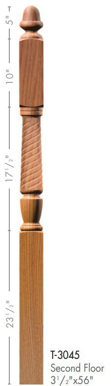 "Bunker Hill 3-1/2"" 3045 Turned Newel w/ Acorn Top - Stair Parts USA - 2"