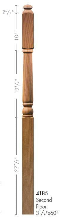 "Colonial 3-1/4"" x 60"" 4185 10"" Long Block Turned Newel w/Mushroom Top - Stair Parts USA - 2"