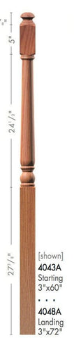 "Colonial 3"" 4040A Fluted Turned Newel w/Mushroom Top - Stair Parts USA - 4"