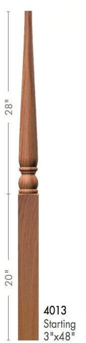 "Colonial 3"" x 48"" 4013 Pin Top Turned Newel - Stair Parts USA - 2"