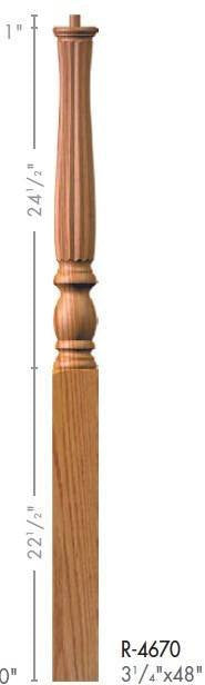 "Country 3-1/4"" 4670 Pin Top Turned Newel - Stair Parts USA - 2"