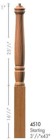 "Georgia 3-1/2"" x 43"" 4510 Pin Top Turned Newel - Stair Parts USA - 2"