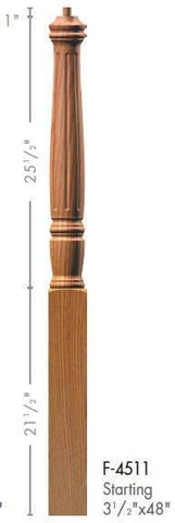"Georgia 3-1/2"" x 48"" 4511 Pin Top Turned Newel - Stair Parts USA - 2"