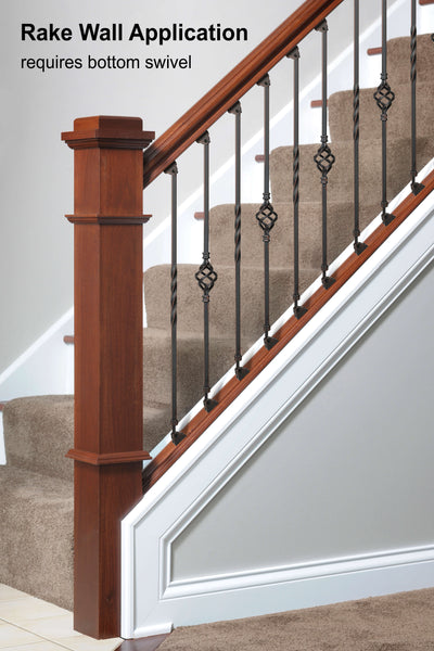 """Ole Iron Slides"" 1/2"" Square x 29-1/2""-38""H CISPLA Adjustable Iron Baluster"
