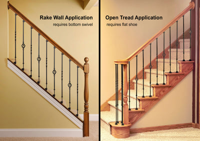 """Ole Iron Slides"" - KNEE WALL SERIES - 1/2"" Square x 26-1/2""-32""H CISBAS-KW Single Basket Adjustable Iron Baluster"
