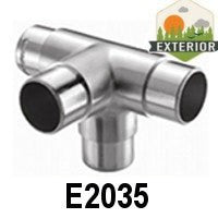 "4-Way Flush Fitting for 1 2/3"" Handrail (E2035) - Stair Parts USA - 3"