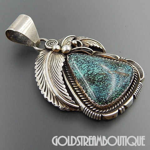 Museum quality Robert Noreen Kelly native american navajo sterling stunning spiderweb turquoise pendant