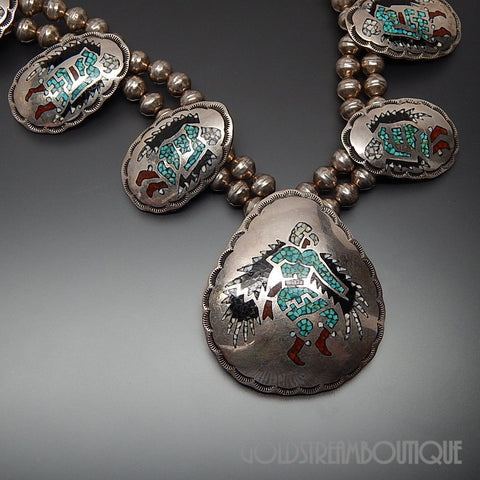 Native American Alfred Joe navajo 925 silver multi-color gem chips inlay shaman dance necklace