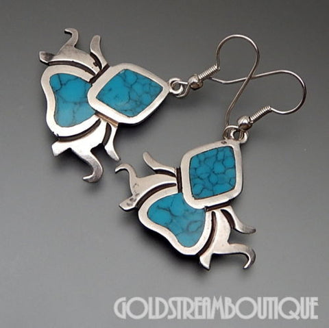 Taxco Mexico Hnos G.S. Brothers Sterling Silver Turquoise Inlay Spider Earrings