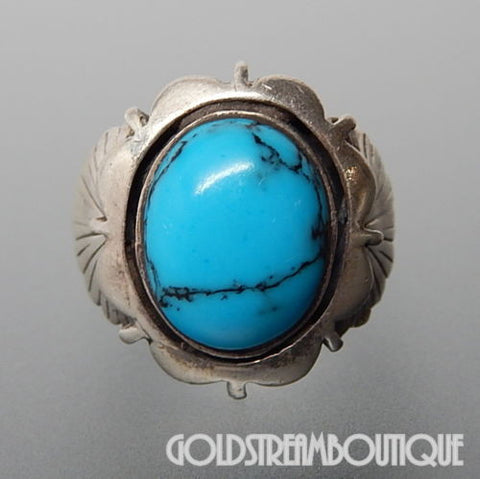 Marvelous sterling silver oval turquoise southwestern unisex ring size 9