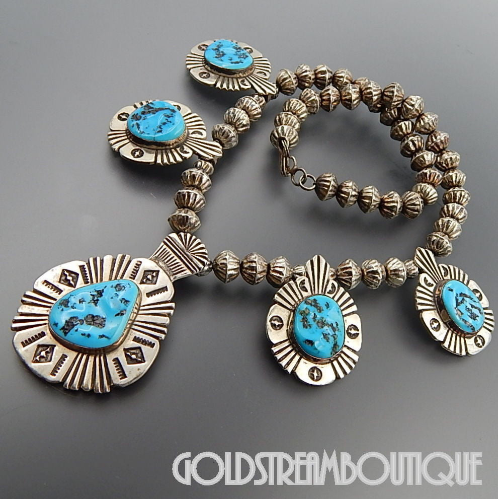 NATIVE AMERICAN VINTAGE OLD PAWN NAVAJO 925 SILVER KIGMAN TURQUOISE STAMPED ETHNIC NECKLACE 18""