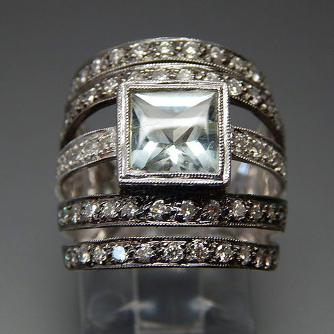 18K White Gold Black Rhodium Aquamarine & 1.16 Ctw Diamonds 5 Row Wide Band Ring - Size 6