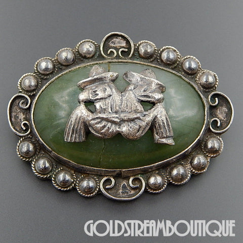 "Old Mexico Pre-Eagle Era Sterling Silver Oval Jade ""A Day In A Desert"" Brooch Pin"